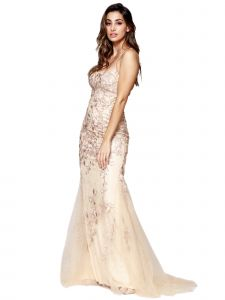 Amelia Couture Womens Champagne Beaded Flower Lace Spaghetti Strap Dress 2-14