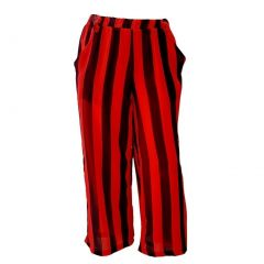 Big Girls Black Red Stripe Pattern Loose Fitting Summer Style Pants 8-14