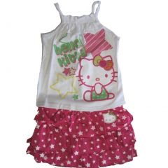 Hello Kitty Little Girls Fuchsia Star Patterned Tiered 2 Pc Skirt Outfit 4-6X