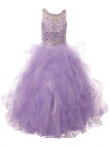 Little Girls Lilac Ocean Waves Rhinestone Scoop Neck Pageant Dress 2-6