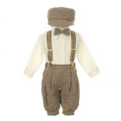 Rafael Baby Boys Brown Overall Pants Knickers Vintage Outfit Tuxedo Set 12-24M