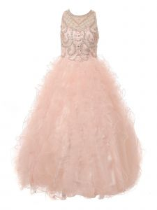 Big Girls Blush Ruffles Rhinestone Illusion Neck Pageant Dress 8-16