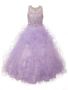 Big Girls Lilac Ruffles Rhinestone Illusion Neck Pageant Dress 8-16