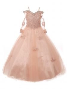 Little Girls Blush Off Shoulder Long Sleeve Rhinestone  Pageant Dress 2-6
