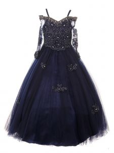 Big Girls Navy Off Shoulder Long Sleeve Rhinestone  Pageant Dress 8-16