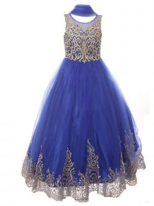 Big Girls Royal Blue Pearl Sequin Embroidery Wired Formal Christmas Dress 8-20