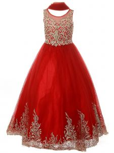 Little Girls Red Pearl Sequin Embroidery Wired Formal Christmas Dress 2-6