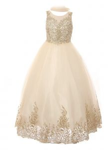 Little Girls Champagne Pearl Sequin Embroidery Wired Formal Christmas Dress 2-6