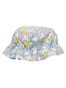 Azul Little Boys Khaki Yellow Lemon Fish Print Reversible Sun Hat 1-2