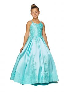 Cinderella Couture Little Girls Aqua Twill Satin Pageant Dress 2T-6