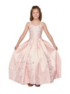 Cinderella Couture Little Girls Blush Twill Satin Pageant Dress 2T-6