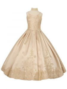 Cinderella Couture Big Girls Champagne Twill Satin Pageant Dress 14