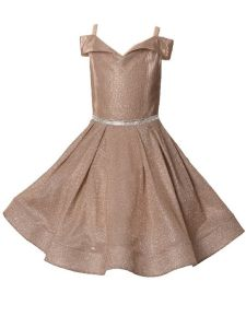 Girls Multi Color Glitter Metallic Off Shoulder Junior Bridesmaid Dress 4-14