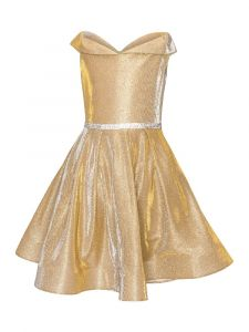 Little Girls Gold Glitter Metallic Off Shoulder Flower Girl Dress 4-6