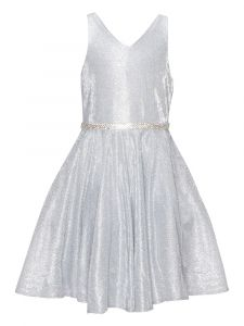 Little Girls Silver Glitter Metallic V Neck Pocket Flower Girl Dress 4-6