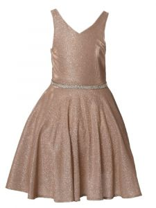 Girls Multi Color Glitter Metallic V Neck Pocket Junior Bridesmaid Dress 4-14