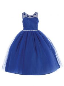 Bijan Kids Big Girls Royal Blue Floral Appliques Junior Bridesmaid Dress 8-16