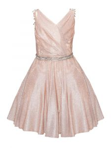 Big Girls Rose Gold Metallic V Neck Overlap Pleated Junior Bridesmaid Dress 8-14