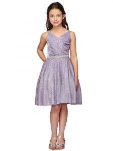 Little Girls Lilac Metallic V Neck Overlap Pleated Flower Girl Dress 4-6