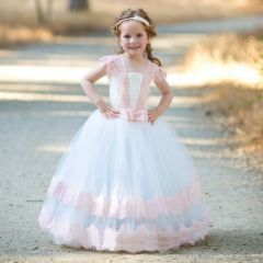 Girls Ivory Pink Vintage Lace Tulle Demi Flower Girl Ball Dress 1-6