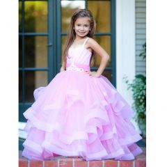 Triumph Dress Big Girls Pink Multilayer Lush Monica Flower Girl Ball Dress 7-12