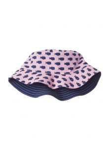 Azul Girls Pink Oh, Whale Print Reversible Bucket Summer Hat 2M-5Y