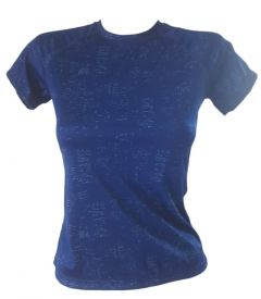 Deep Blue Women Blue Crew Neck Yoga T-Shirt 6-14