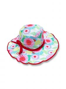 Azul Little Girls Pink Sweet Jane Red Bow Sun Hat 1-2