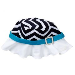 Azul Girls Blue White Black Chevron Stripe Jagged Edge Stylish Sun Hat 6M-5Y