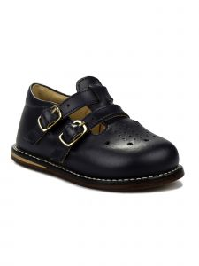 Josmo Unisex Navy Leather Double Buckle First Walker Shoes 3 Baby-8 Toddler