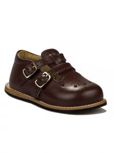 Josmo Unisex Burgundy Leather Double Buckle First Walker Shoes 3 Baby-8 Toddler