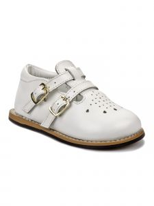 Josmo Unisex White Leather Wide Size First Walker Shoes 3 Baby-8 Toddler