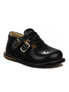 Josmo Unisex Black Leather Double Buckle First Walker Shoes 3 Baby-8 Toddler