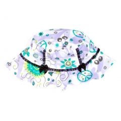Azul Girls Lilac Blue Floral Print Black Bow Sassy Does It Sun Hat 1-2