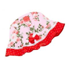 Azul Girls Pink Red Floral Print Bow Heaven Scent Stylish Sun Hat 6M-5Y