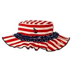 Azul Girls Red White Stripe In The Navy Ruffle Accent Stylish Sun Hat 6M-5Y