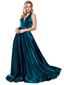Amelia Couture Womens Teal Crystal Belt Halter Maxi Dress 2-14