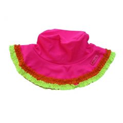 Azul Baby Girls Fuchsia Multi Color Trimmed Chassing Rainbows Sun Hat 1-2