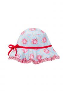 Azul Girls Red Blue Floral Print Ruffle Brim The Girl Next Door Sun Hat 2M-5Y