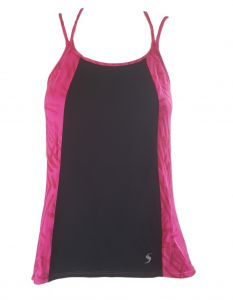 Deep Blue Women Pink Loose Fit String Back Yoga Tank Top 6-14