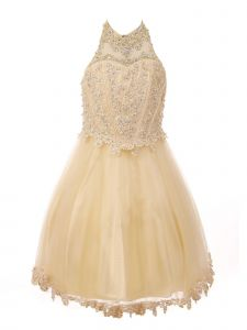 Big Girls Champagne Halter Neck Rhinestone Sequin Junior Bridesmaid Dress 8-16