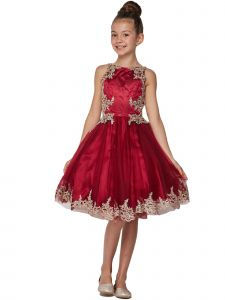Girls Multi Color Crystal Embroidered Pearls Junior Bridesmaid Dress 4-20