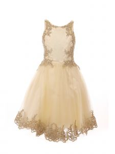Little Girls Champagne Crystal Embroidered Pearls Flower Girl Dress 4-6