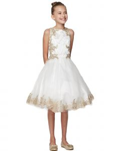 Little Girls Off White Crystal Embroidered Pearls Flower Girl Dress 4-6