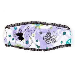 Girls Lilac Blue Floral Butterfly Print Black Bow Sassy Does It Headband
