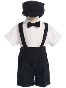 Lito Boys Multi Colors Bow Tie Hat Suspendered Short Shirt Set 0M-4T