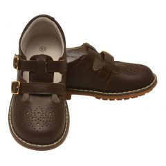 L'Amour Girls Brown Double T-Strap Buckled Stitch Down Leather Shoes 11-2 Kids