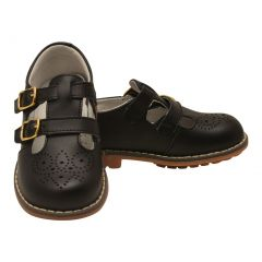 L`Amour Unisex Black Double T-Strap Buckled Leather Mary Jane Shoes 11-2 Kids