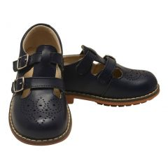 L`Amour Unisex Navy Double T-Strap Buckled Leather Mary Jane Shoes 11-2 Kids