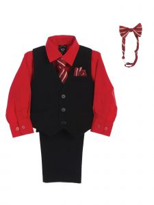 Lito Baby Boys Red Shirt Zipper Tie Bow Tie Pinstripe Vest Pant Set 6-24M